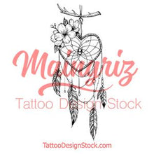 Load image into Gallery viewer, Realistic heart dreamcatcher tattoo design high resolution download