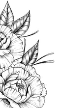 Load image into Gallery viewer, Sexy linework peony half sleeve high resolution download