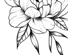 Load image into Gallery viewer, Sexy peony half sleeve linework high resolution download