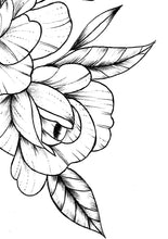Load image into Gallery viewer, Sexy peony linework half sleeve high resolution download