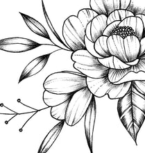 Load image into Gallery viewer, Peony sideboob linework tattoo design high resolution download$