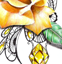 Load image into Gallery viewer, Sexy precious stone with realistic rose tattoo design high resolution download