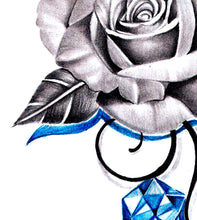 Load image into Gallery viewer, Sexy precious stone with rose realistic tattoo design high resolution download