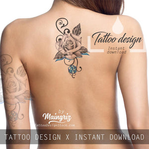 Sexy precious stone with rose realistic tattoo design high resolution download