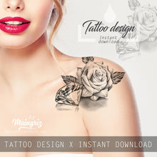 Load image into Gallery viewer, Sexy realistic rose with diamond tattoo design high resolution download