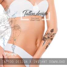 Load image into Gallery viewer, Realistic rose with precious stone tattoo design high resolution download