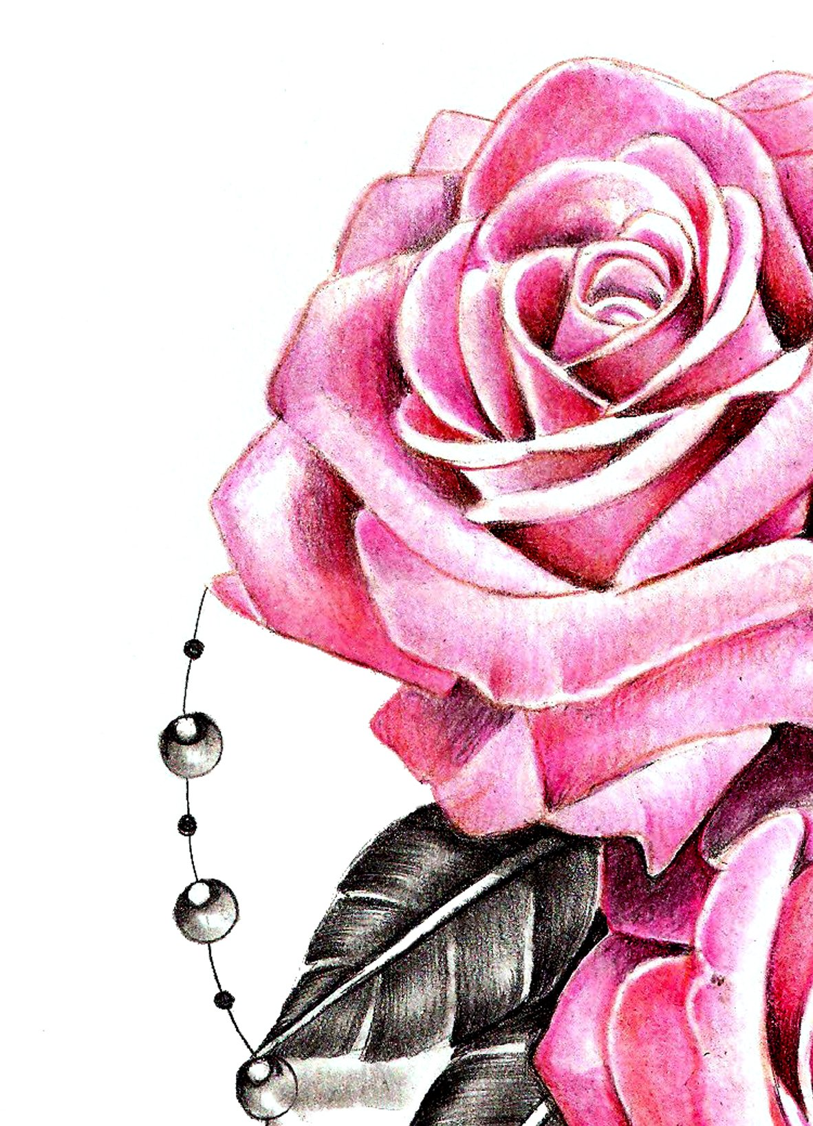 Sexy realistic rose with precious stone tattoo design digital download - Tattoos.download