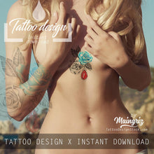 Load image into Gallery viewer, Sexy rose with precious stone tatoo design high resolution download