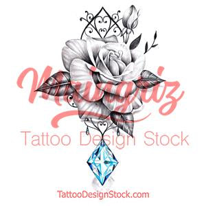 Sexy rose realistic rose with precious stone- download tattoo design