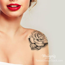Load image into Gallery viewer, Shoulder rose tattoo design high resolution download
