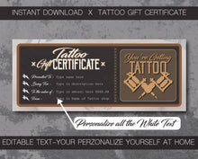 Load image into Gallery viewer, tattoo gift certificate instant download designed for tattoo shop