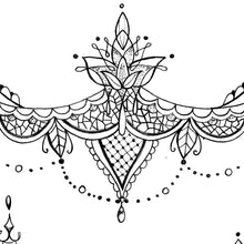 Load image into Gallery viewer, Mandala & lace under boob tattoo designs references created by tattoo artists