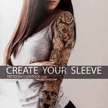 Load image into Gallery viewer, custom chicano sleeve tattoo design in high resolution download