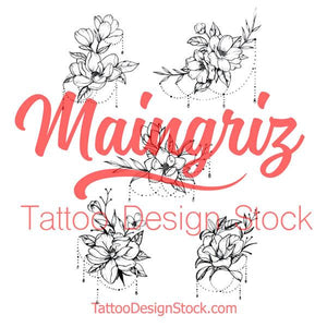 flowers and jewelry tattoo design for sleeve tattoo