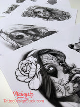 Load image into Gallery viewer, amazing catrina for your chicano sleeve tattoo design high resolution download by tattoo artist