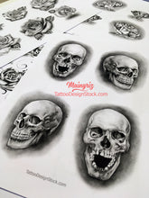 Load image into Gallery viewer, 4 amazing realistic skulls for your custom sleeve tattoo design high resolution download by tattoo artist