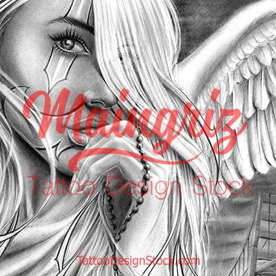 amazing angel chicano tattoo design digital download by tattoo artists