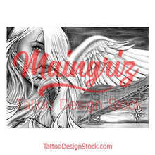 Load image into Gallery viewer, amazing angel chicano tattoo design digital download by tattoo artists