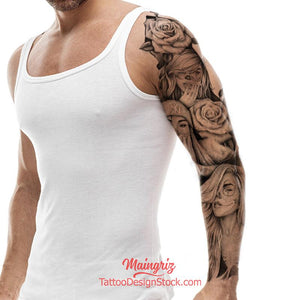 californian chicano sleeve tattoo high resolution download by tattoodesignstock.com