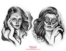 Load image into Gallery viewer, amazing chicano girl faces tattoo design