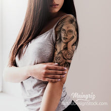 Load image into Gallery viewer, catrina chicano half sleeve tattoo design by tattoodesignstock.com
