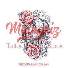 Load image into Gallery viewer, catrina with two roses tattoo design digital download by tattoo artists