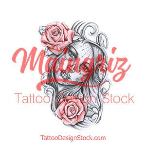 catrina with two roses tattoo design digital download by tattoo artists