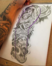 Load image into Gallery viewer, religious chicano sleeve tattoo design