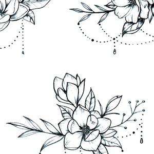 Flowers jewelry tattoo designs digital download in high resolution.