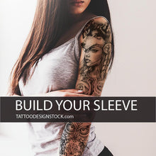 Load image into Gallery viewer, native american sleeve tattoo in high resolution download