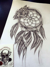 Load image into Gallery viewer, Dreamcatcher download tattoo design digital download by tattoo artist