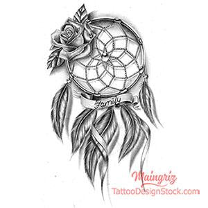 dreamcatcher family tattoo design