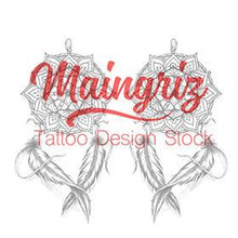 Load image into Gallery viewer, amazing dreamcatcher mandala tattoo design digital download