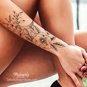 Flowers and moon wrist sexy tattoo design