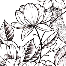 Load image into Gallery viewer, Flowers and moon sexy tattoo design
