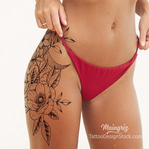 Flowers and moon sexy leg tattoo design