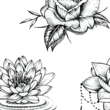 Load image into Gallery viewer, Flowers oriental hand Tattoo design