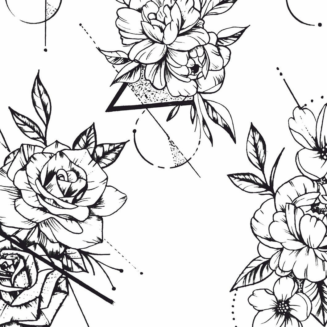 geometric roses line work tattoo design high resolution download