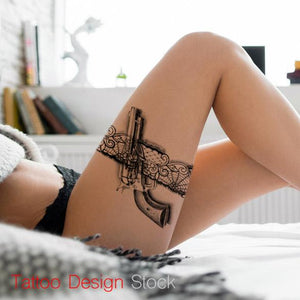 gun with lace garter tattoo design