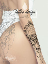 Load image into Gallery viewer, Sexy half sleeve Mandala tattoo design digital download