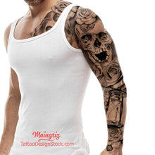 Load image into Gallery viewer, hourglass skull and roses sleeve tattoo design high resolution download