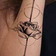 Load image into Gallery viewer, arrow and rose geometric tattoo design