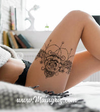 Load image into Gallery viewer, rose with garter tattoo design