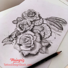 Load image into Gallery viewer, Roses butterfly pearls and feathers - download tattoo design #16