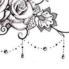 Load image into Gallery viewer, sexy lace garter with 3 roses and pearls tattoo design reference