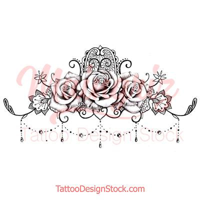 sexy lace garter with 3 roses and pearls tattoo design reference