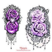 Load image into Gallery viewer, half sleeve purple roses and lace tattoo design high resolution download by tattoo artist