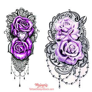 half sleeve purple roses and lace tattoo design high resolution download by tattoo artist