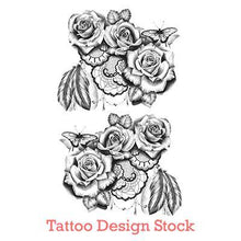 Load image into Gallery viewer, lace with rose and butterfly tattoo design