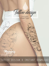 Load image into Gallery viewer, Rose linework - download tattoo design #3